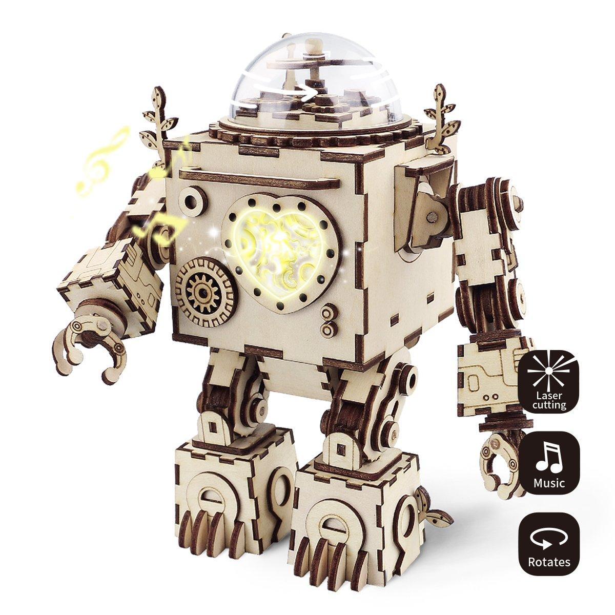 ROBOTIME Laser-Schnitt-hölzernes Puzzlespiel-DIY Mechanismus ...