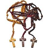3 paquetes Cuentas de Rosario de Madera Collar Colgante Vintage hecho a mano Cruz del rosario católico Cuentas de oración de