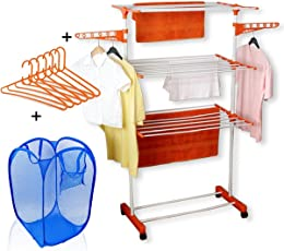 TNC Carbon Steel Cloth Dryer Stand with Laundry Bag, Orange and White,(75-126)x64x170cm