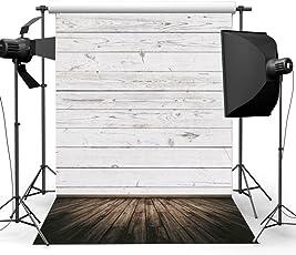 Rishil World 5X7ft Wooden Floor Wall Vinyl Photo Backdrop for Studio Photography Props