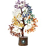 Gemstar 7 Seven Chakra Crystal Gemstone Money Tree with 300 Stones Golden Wire Branches. Healing for Good Luck, Positive Ener