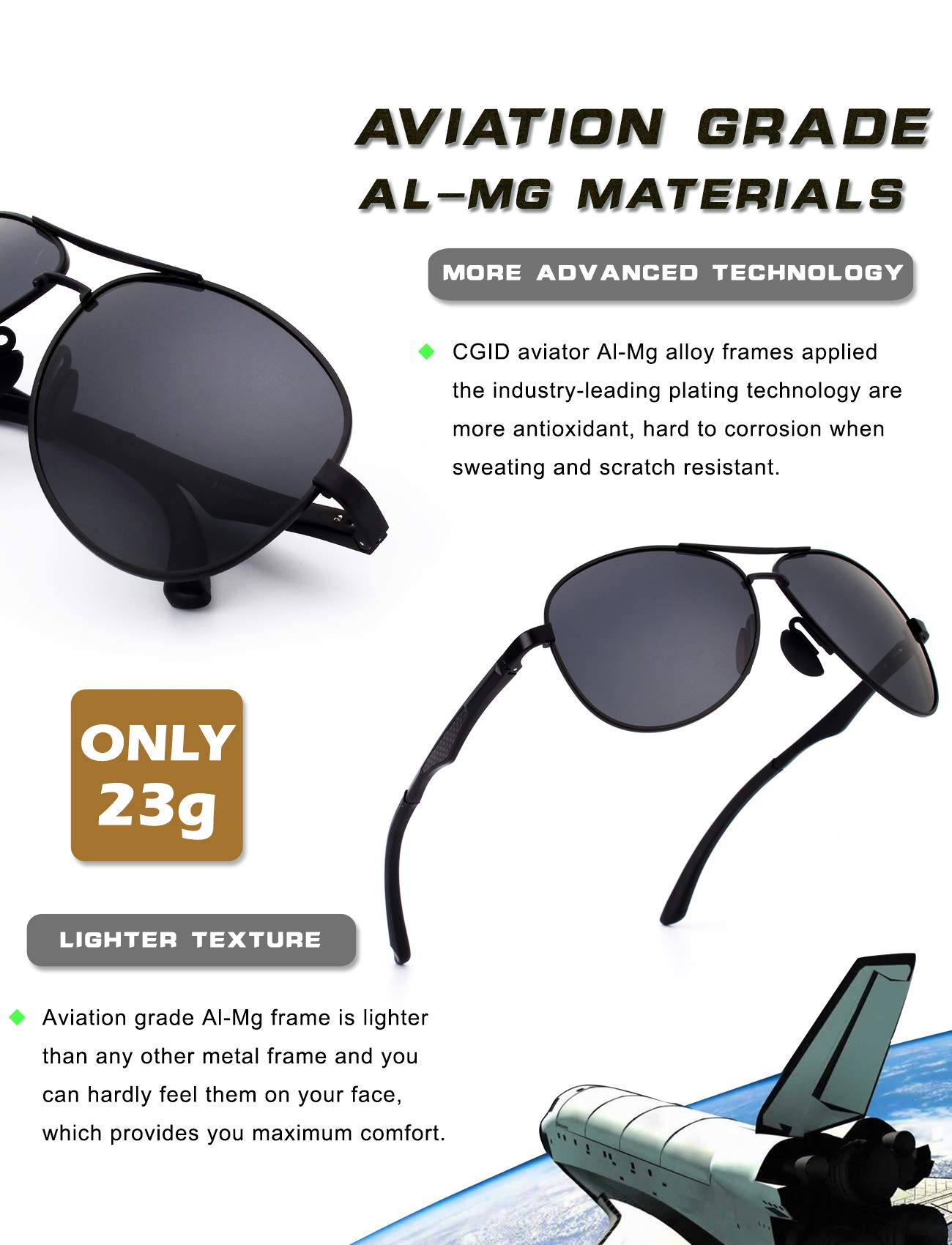 1b1cdac9cd6 CGID GA61 Premium Al-Mg Alloy Pilot Polarized Sunglasses UV400