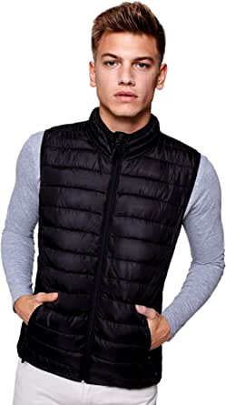 Guuja Men's Quilted Down Jacket Jacket Coat Sleeveless Jacket with Light Lining for Men