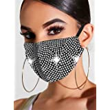 Ushiny - Maschera luccicante in cristallo per feste in maschera, per Halloween, genie di Halloween, gioielli per donne e raga