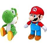 Super Mario -Mario (30 cm) & Yoshi (27 cm) peluche, originale, 2 personaggi disponibili (confezione da 2 (Super Mario & Yoshi