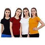 Reifica Women's Plain Half Sleeve T-Shirt Combo Pack of 4