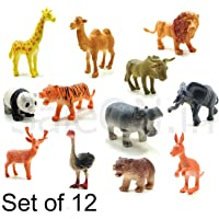 SaleOn™ Set of 12 Realistic Zoo Wild Animals Figures Toys for Kids , Animal Toy Set Play for Kids (1189)