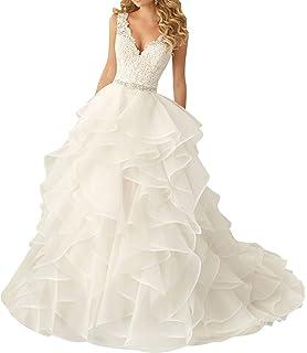 49cc6689d1a218 Organza Brautkleider Hochzeitskleider Prinzessin Spitze Brautkleid V- Ausschnitt Rüschen A-Linie Abendkleider Lang