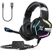 targeal Gaming Headset 7.1 Virtueller Surround Sound für PC Mobile, Over-Ear Gaming Kopfhörer mit buntes RGB-Licht, 50MM…