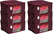 Kuber Industriestm Non Woven Saree Cover/ Saree Bag/ Storage Bag Set Of 6 Pcs (Maroon) 9 Inches Height