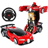 SUPER TOY Remote Control Steering Robot Transformation Car Toy for Kids - Red