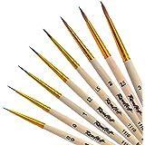 Profi Kolinsky Rotmarder Pinselset Fein | 8 x Sable Brush von Roubloff | Größe: 00 / 0 / 1 / 1,2 / 1,5 / 2 / 2,5 / 3