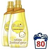 Robijn Wasmiddel Vloeibaar Klein & Krachtig Zwitsal Color voor de Gekleurde Was met Milde Zwitsal geur - 80 wasbeurten - 2 x