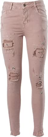 Laphilo Pantalone Jeans Denim Donna Cinque Tasche Elastico Strappato con Strass Brillanti (cod. 828)