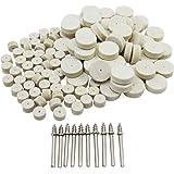 HSeaMall 100 st 13 mm 25 mm ullfilt polerings polerhjul roterande verktyg med 10 st skaft för Dremel tillbehör roterande borr