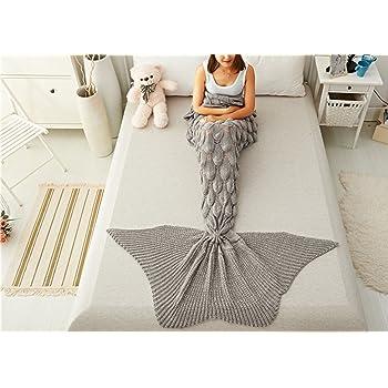 Sweetwill Meerjungfrau Decke für Erwachsene und Kinder, Häkeln ...