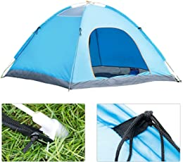 Portable Foldable Instant Family Camp Home Tent Dome Shape Shelter Tent Water Proof Backpacking Tent for Picnic Adventure Camping & Hiking Travelling - for 4 Person (Blue Tent)