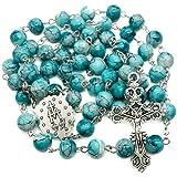 Nazareth Store Collana rosario con perle di vetro in marmo turchese cattolico Medaglia miracolosa e croce - Borsa in velluto