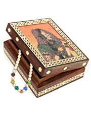 "JAIPURCRAFT Gemstone Bani Thani Print Wooden Jewelry Box for Women, Brass Border Gemstone Painting Wooden Jewelry Box 4.5""x 1.5""x 3.5"" (L x H x W)"