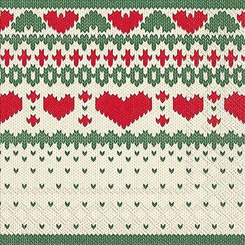 NORDIC Christmas Luncheon KNITTING Verde-Tovaglioli di carta, confezione da 20 pezzi, 33 cm