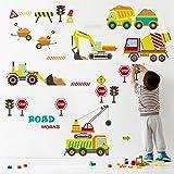 decalmile Stickers Muraux Chantier de Construction Véhicule Autocollant Décoratifs Chambre Bébé Garçon Décoration Murale Cham