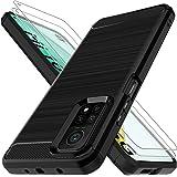 LK Compatibel met Xiaomi Mi 10T/Mi 10T Pro en 2 Gehard Glas Screen Protector, Slim Fit Flexibele Zachte TPU Geborstelde Besch