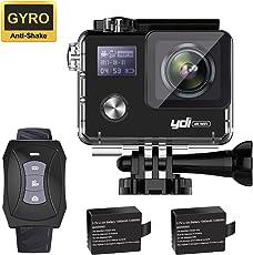 YDI G80 4K Action Kamera Unterwasserkamera Gyro Anti-Shake 20MP Ultra HD 30M Wasserdicht Sport Cam mit Fernbedienung, 2*1050mAh Batterien für Radfahren Schwimmen Klettern Tauchen