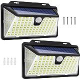 WOWDSGN 128 LEDs Solar Wandleuchte Solarleuchte außen Solarlampe mit PIR Bewegungssensor & Dämmerungssensor 4 Betriebsmodi 27