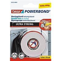 tesa Powerbond ULTRA STRONG - Doppelseitiges, extra starkes Montageband zur permanenten Befestigung im Außen- und…