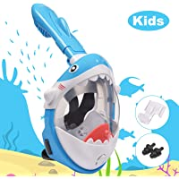 LEMEGO Tauchmaske für Kinder Hai Vollgesichtsmaske sicher Easybreath Anti-Fog Schnorchelmaske Vollmaske Taucherbrille Lebensmittel-Silikon Dry Top System mit Aktion-Kamera-Halterung