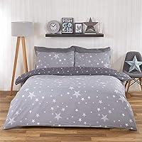 """Dreamscene - Set copripiumino reversibile con federa, motivo """"Galaxy Stars"""", colore: grigio argento"""