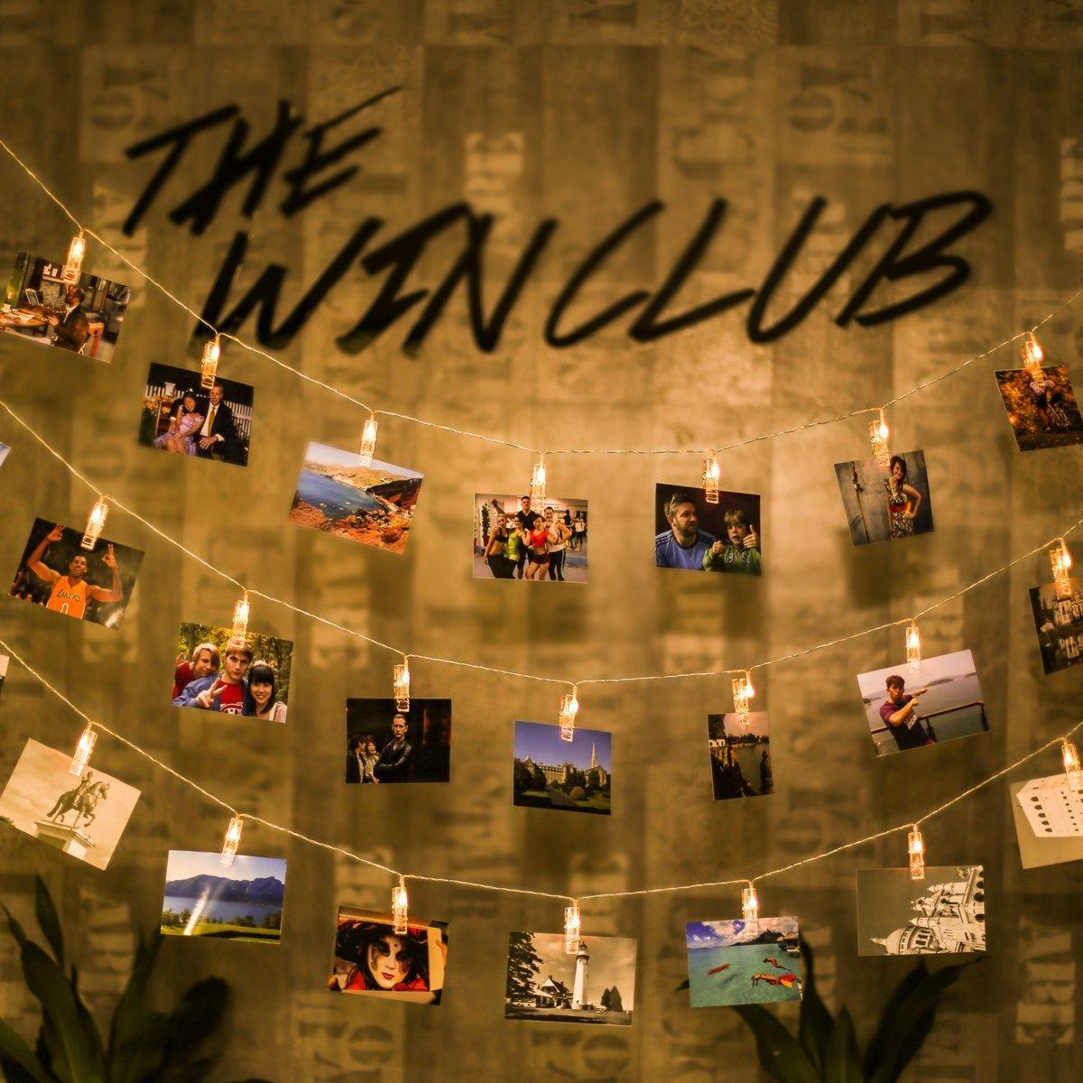 Led Bilder Weihnachten.40 Led Fotoclips Lichterkette Ecowho 8 Modi Lichterkette Mit Klammern Fur Fotos Warmweiss Led Lichterkette Mit Fernbedienung Timer Ideal Fur