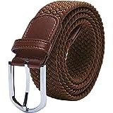"TANGCHAO Cintura Elastica Intrecciata per Uomo e Donna Cinturino Elastica Intrecciata con Fibbia in Lega di Zinco 33mm (1.25"""