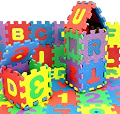 Lakshya-Puzzle Mats|Eva Foam A to Z and 0 to 9 Puzzle Mats|Alphabets and Numbers Puzzle Mat Jigsaw for Kids Playing (Large)