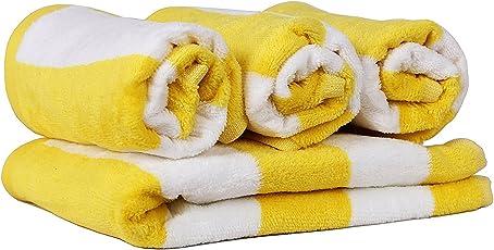 Trident Cabana 4 Pcs Hand Face Combo Towels Set - Yellow & White