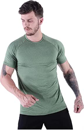 HMILES Mens Short Sleeve Hiking Tshirts UV Protection Running Tee Male Quickdry Fitness Exercise Top Crew Neck Sports Shirt