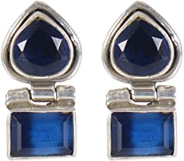 Silverwala 925 Sterling Silver Onyx Stone Stud Earring for Women and Girls Ruby Silver Stud Earring