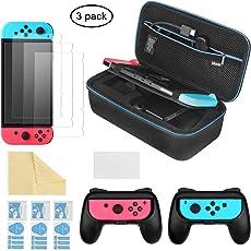 iAmer 6 in 1 Nintendo Switch Zubehör Kit, Nintendo Switch Tragetasche + 2 Griff für Nintendo Switch Joy-Cons + 3 Stück Displayschutzfolien