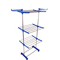 SUNDEX Cloth Dryer Stands Foldable for Balcony with Side Cloth Hanger - 3 leyars