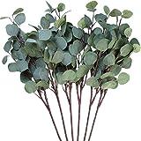 3 hojas de eucalipto Amkun de plata artificial en rama, de color verde, 63,5 cm de alto, para decoración de fiestas, casas, b