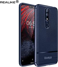 REALIKE® Nokia 6.1 Plus Back Cover, Ultimate Protection from Drops, Durable, Anti Scratch, Perfect Fit Litchi Pattern Back Cover for Nokia 6.1 Plus 2018 (Litchi Blue)