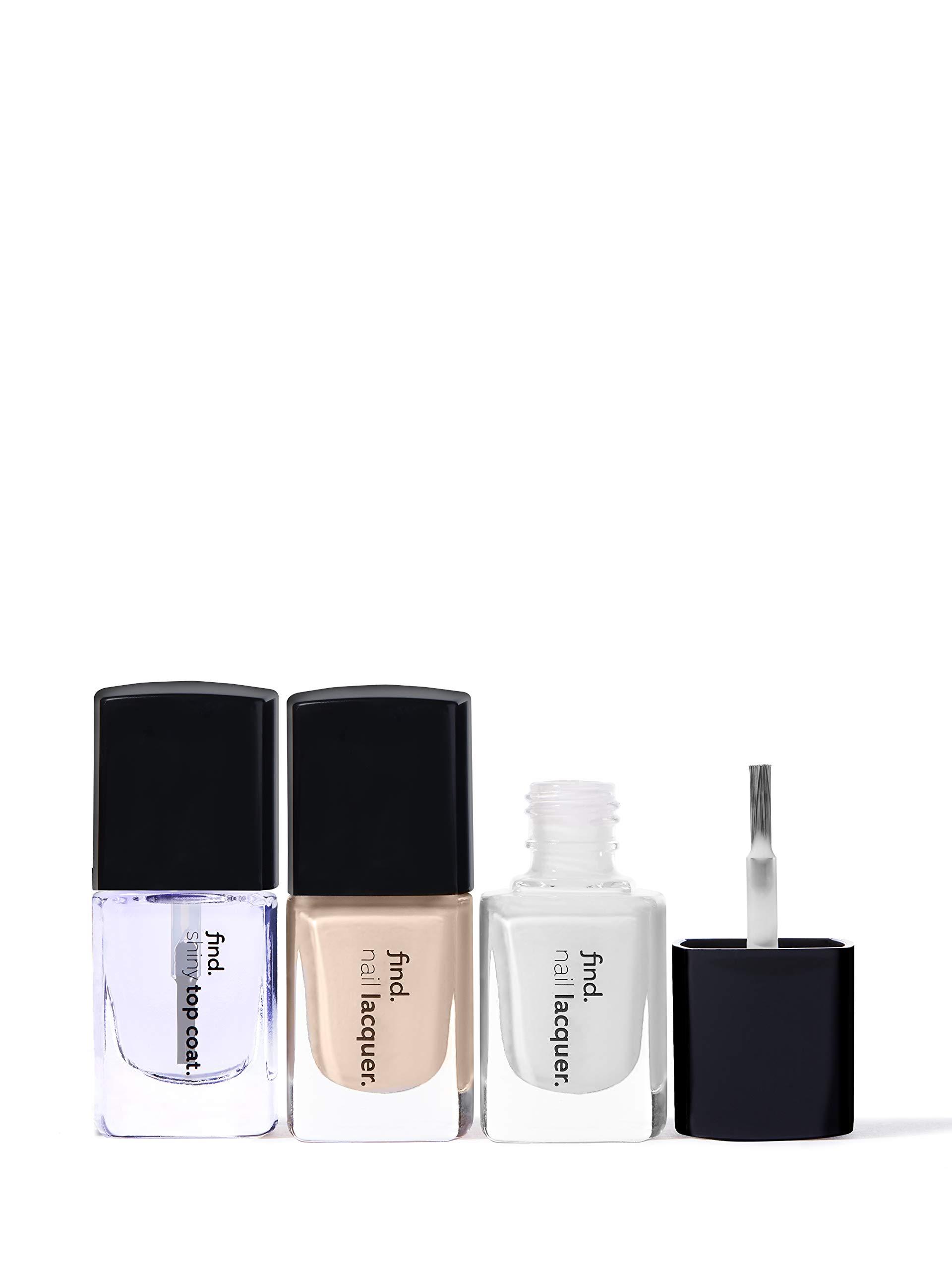 FIND – French Manicure – Esmalte de uñas, n.3 unidades (n.1, n.2, Top Coat)