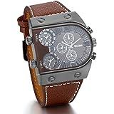 JewelryWe Reloj Pulsera Cuarzo Luxe montrant 3tiempo de pulsera de piel Para Hombre De Negocios