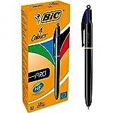 BIC 4 Colours Original Pro Balpennen met Kliksysteem Medium Punt (1,0 mm) - Pak van 12 Stuks, Zwart/Blauw/Groen/Rood