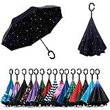 Jooayou Doppio Strato Invertito Ombrello, Manico a Forma di C Ombrello Ribaltabile Inverso, Anti UV Antivento Umbrella di Via