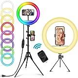 AILUKI ringlamp met afstandsbediening, 12 inch, RGB, 148 cm statief en telefoonhouder, dimbare cirkellichtring voor make-up,