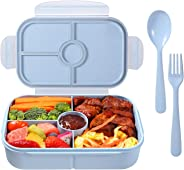 Bento Box for Adults,Lunch Container for Kids,3 Compartments Portion Lunch Box,Food-Safe Materials,BPA-free,Leak-proof (Flatware Included)