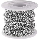 Supvox Metalen parelketting roestvrij staal kogelketting voor doe-het-zelf handwerk decoratie 2,4 mm diameter 1 rol 10 meter