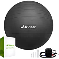 Trideer Exercise Ball (Multiple Colours), 45-85cm Gym Ball Supports 2200lbs, Ball with Quick Pump, Birthing Ball for…