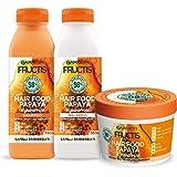 Garnier Fructis Hair Food Papaya Riparatrice, Kit con Shampoo, Balsamo e Maschera per Capelli Danneggiati, 98% di Ingredienti